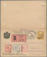 Montenegro - Ganzsachen: 1896. 2 & 2 N Yellow/chamois Prince Nicholas Double Stationery Card,1892 De - Montenegro