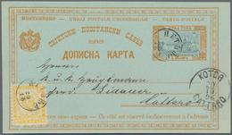 "Montenegro - Ganzsachen: 1896. 5 N ""Monastary"" Design 5n Blackish-blue And Olive-yellow Postaly Stat - Montenegro"