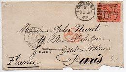 GB : 4p Orange Sur Lettre De 1869 Pour La France - Briefe U. Dokumente