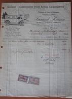 Facture Automobile Dealer CHEVROLET Chaussée De Charleroi GEMBLOUX 1924 Auto Wagen Voiture - 1900 – 1949