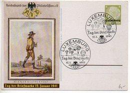 Luxembourg : Entier Postal De L'occupation Allemande Pour La Journée Du Timbre 1941 - Interi Postali