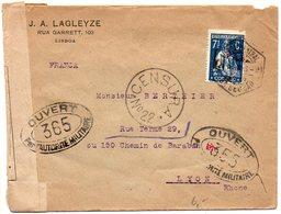 Portugal : Lettre De 1918 Pour La France Avec Double Censure Portugaise Et Française - Lettres & Documents