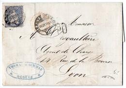 Suisse : N° 46 Sur Lettre De 1870 Pour La France - 1862-1881 Sitzende Helvetia (gezähnt)