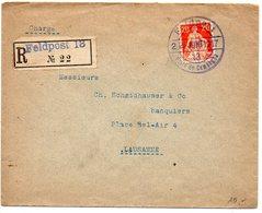 Suisse : N° 119 Seul Sur Lettre Recommandée De 1917 Oblitérée CaD 'FELDPOST 18' - Storia Postale