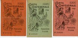 1282. LOT DE 3 CARTES CONFEDERALES CGT DE LA FEDERATION POSTALE 1932 1933 1934 - Documentos Antiguos