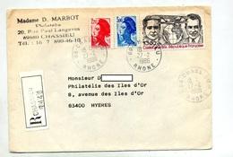 Lettre Recommandee Chassieu Sur Costes - Marcophilie (Lettres)