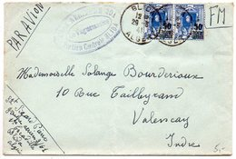 Algérie : Lettre En Franchise Militaire Avec Surtaxe Avion De 1941 Pour La France - Briefe U. Dokumente