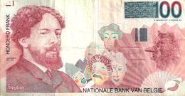 BELGIUM 100 FRANCS MAN FRONT ABSTRACT BACK ND(1978-81) SIGN 5-6 &15-16 (?) P140  VF READ DESCRIPTION - [ 2] 1831-... : Regno Del Belgio