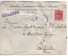 Levant : 50c Sage Sur Lettre Recommandée Avec Griffe Chargée De 1900 Pour Paris - Levant (1885-1946)