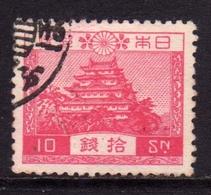 JAPAN NIPPON GIAPPONE JAPON 1926 1937 NAGOYA CASTLE CASTELLO SEN 10s CARMINE USATO USED OBLITERE' - 1926-89 Imperatore Hirohito (Periodo Showa)