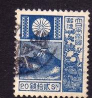 JAPAN NIPPON GIAPPONE JAPON 1930 1937 Mt FUJI MOUNT MONTE SIZE 18x22mm SEN 20s USATO USED OBLITERE' - 1926-89 Imperatore Hirohito (Periodo Showa)