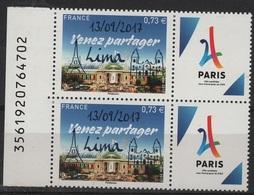FR-1048 - FRANCE N° 5144A Paire Bdf Avec Vignettes Tour Eifel Neufs** Venez Partager Lima/Paris - Francia