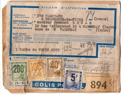 Colis-Postaux Petits Colis 5F + 40F + 100F + 200F Sur Carton D'expédition - Colis Postaux