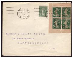 Bloc De 4 Du N° 137 De Carnet  Sur Lettre De PARIS Pour CASTELNAUDARY Du18.7.21. - Covers & Documents
