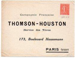 Enveloppe 50c Semeuse Neuve Avec Repiquage THOMSON - HOUSTON / Paris - Légeres Froissures En Coins - Enveloppes Repiquages (avant 1995)