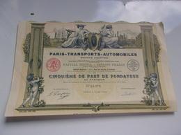 PARIS TRANSPORTS AUTOMOBILES (imprimerie RICHARD) - Shareholdings