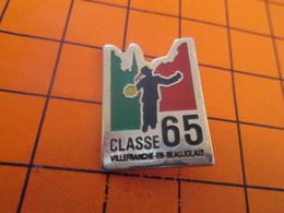 511A Pins Pin's / Rare & Belle Qualité  THEME MILITARIA / CLASSE 65 SERVICE MILITAIRE VILLEFRANCHE EN BEAUJOLAIS - Militaria