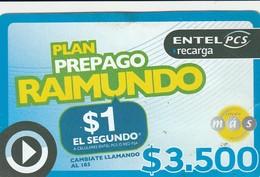 TARJETA TELEFONICA DE CHILE (PREPAGO) Plan Prepago Raimundo - $1 El Segundo. 30-09-2008. ENT-PCS-006. (308) REVERSO DIF. - Chile