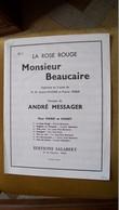 Messager - La Rose Rouge Monsieur Beaucaire - M-O