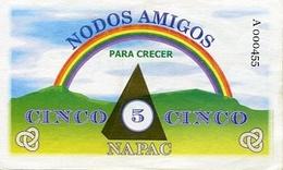 NODOS AMIGOS, PARA CRECER. VALOR CINCO NAPAC. CLUB DEL TRUEQUE MONEDA EQUIVALENTE CIRCA 2001 CORDOBA ARGENTINA - LILHU - Argentina