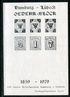 """Vignettenblock / 1979 / Gedenk-Schwarzdruckblock """"Hamburg-Luebeck"""" (*) (17010) - Vignetten (Erinnophilie)"""