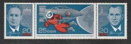 DDR 1965 Michel 1138-40 Dreierstreifen, Alle Postfrisch, Sowjetische Kosmonauten - [6] Democratic Republic