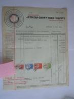 1948 Antwerp Crown Cork Company Kontich Kroonstoppen Bouchons-couronne Fact Brouwerij St-Michael Humbeek Taxe 128,30 Fr - Alimentaire