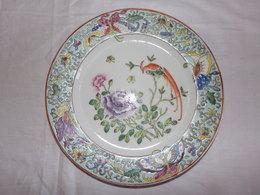 Assiette Décorative Papillons Et Oiseau De Paradis , Marquage Asiatique - Art Asiatique