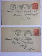 GB GEORGE V 2 X Postcards Commercial: `James Howard Warrington` - Lettres & Documents