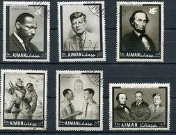 (CL 118) Ajman  Ob Michel N° 289 A à 294 A - M.L. King, JF Kennedy, A. Lincoln,soldats - - Ajman