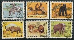 (CL 118) Ajman  Ob Michel N° 412 A à 417 A  - Animaux : Zèbres, Chameaux, Ours, Rhinocéros, Lions, éléphant - - Ajman