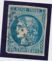 20 C Bleu Type III Report I Signé Calves B. - 1870 Emission De Bordeaux