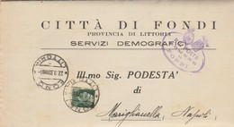 Fondi. 1939. Annullo Guller FONDI *LITTORIA* + Ovale COMUNE , Su Lettera Affrancata, Con Testo. - Storia Postale