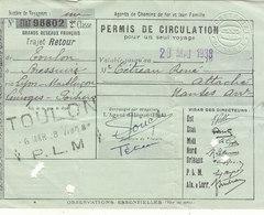 PERMIS DE CIRCULATION :  TOULON A BRESSUIRE. VIA LYON-MONTLUCON - LIMOGES - POITIERS.DU 23/05/1938.RARE.POUR AGENTS SNCF - Treni
