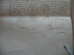 Pièce Signée Autographe Alain De Voze Servant La Reine + F.de Bassacq Paris 14/04/1612 Reçu D'H. De Longecombe - Autógrafos