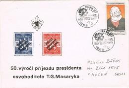32947. Carta PRAHA (Checoslovaquia) 1968. Aniversario President MASARYK. SCOUTS - Checoslovaquia