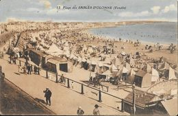 La Plage Des Sables-d'Olonne - Tentes Et Cabines - Phototypie Jehly-Poupin - Carte Colorisée N° 12 - Sables D'Olonne