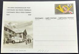 "Schweiz Suisse 1949: Bild-PK ""Autopost - Car Postal Automobile Postale"" Vor FLÜELA HOSPIZ (ungebraucht - Non Circulé) - Bussen"