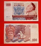 SWEDEN 100 KRONOR 1978. BANKNOTE. BILLET SUEDE. - Suède