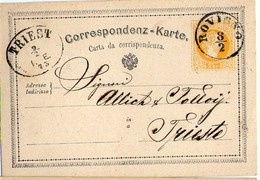 AUSTRIA OSTERREICH CROATIA ROVIGNO ROVINJ GANZSACHE ENTIER 1873 NACH TRIESTE TRIEST - Interi Postali