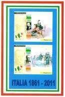 [DC1496]  CARTOLINEA - RIPRODUZIONE FRANCOBOLLI: VITTORIO EMANUELE II E CAMILLO BENSO CONTE DI CAVOUR (1 DI 4) - Timbres (représentations)