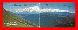 4 CPSM/gf (74) La Chaîne Du Mont-Blanc, Carte Double / Du Prarion / Depuis Mayères / Du Lac Blanc...H800 - Chamonix-Mont-Blanc
