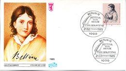 """Westberlin Schmuck-FDC Mi. 730 """"200. Geburtstag Von Bettina Von Arnim"""" ESSt 21.2.1985 BERLIN 12 - FDC: Sobres"""