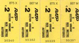 4 Tickets Ratp, Rer, Métro, Autobus. - Titres De Transport