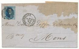 1859 BRIEF Met COB 11A? Van BRUXELLES Naar MONS, Zie Scan(s) - 1858-1862 Medallions (9/12)