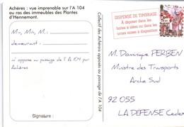 Pseudo-entier Carte Pétition Achères Adressée Au Ministre Des Transports - Contre Projet Autoroute - Scan Recto-verso - Entiers Postaux