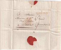 """FRANCE : MARQUE POSTALE . EN ROUGE . """" 6 TOURNON """" . 1818 . - Marcophilie (Lettres)"""