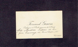 CHATELET 1900-1910 ANCIENNE CARTE DE VISITE - Fernand GENON - Professeur à L'Ecole Moyenne De L'Etat - Cartes De Visite