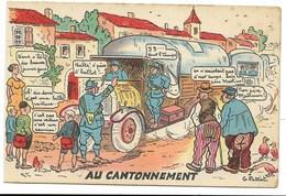 Scènes De L'Armée Motorisée - Au Cantonnement... Signé G. PETIET - Humour