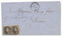 1861 BRIEF Met COB 10(paar) Van CHARLEROI Naar LOUVAIN, Zie Scan(s) - 1858-1862 Medallions (9/12)